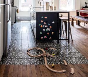 combinatie parket tegels keuken